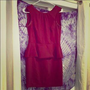 Maroon Fancy Dress-unzipped